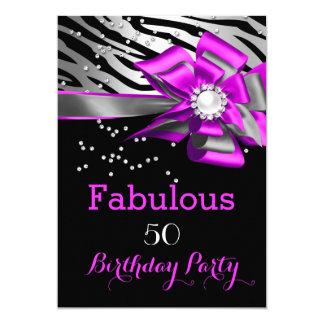 Fabulous 50 Party Pink Zebra Black Silver Pearl 5x7 Paper Invitation Card