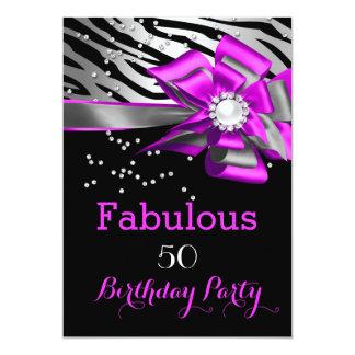 "Fabulous 50 Party Pink Zebra Black Silver Pearl 5"" X 7"" Invitation Card"
