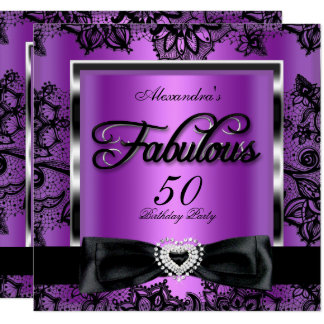 Fabulous 50 Party Purple Damask Black Lace Card