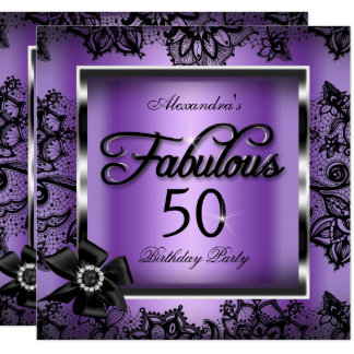 Fabulous 50 Party Purple Damask Black Lace Pearl Card