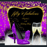 "Fabulous 50 Party Purple Magenta Gold Champagne Invitation<br><div class=""desc"">Fabulous 50 Champagne Glitter High Heels Shoes, Purple Pink Magenta Gold, Silver White, 50th Birthday Party, Sparkle and feathers. Invitation Birthday Party. Fabulous Elegant Events for Women, Party Invites for all ages, just customize to the age you want! Elegant Birthday Party Ornate Party birthday invites Template Celebration Party Invitation. Customize...</div>"