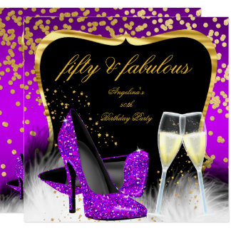 Fabulous 50 Party Purple Magenta Gold Champagne