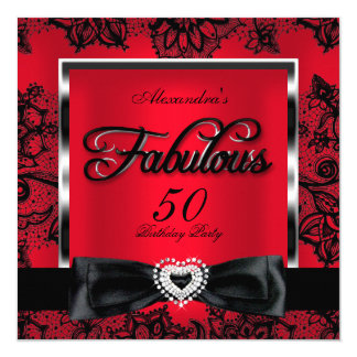 Fabulous 50 Party Red Damask Black Lace Card