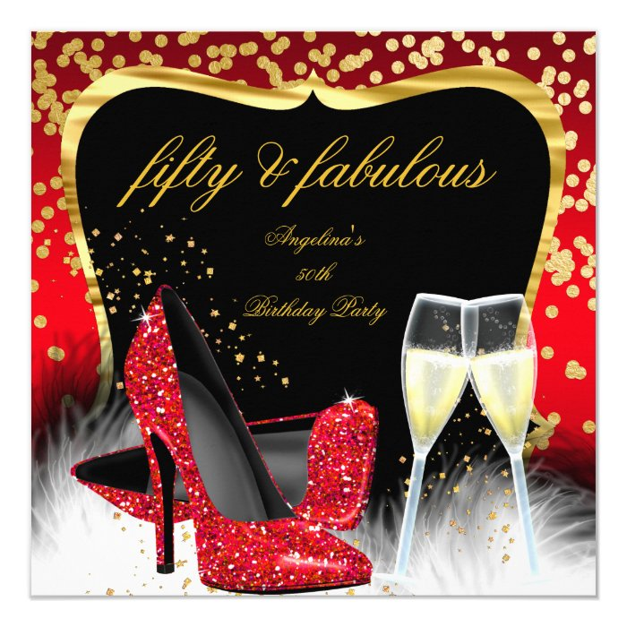Glitter Fifty And Fabulous: Fabulous 50 Party Red Gold Champagne Glitter Heels Card