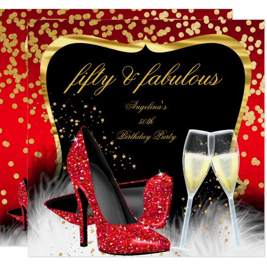50 And Fabulous Text: Christmas Holiday Champagne Party Red Gold Black 4