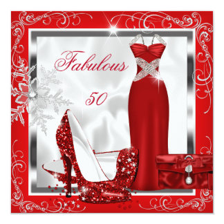 """Fabulous 50 Party Red Silver Dress Heels S7 5.25"""" Square Invitation Card"""
