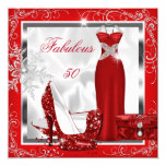 Fabulous 50 Party Red Silver Dress Heels S7 5.25x5.25 Square Paper Invitation Card