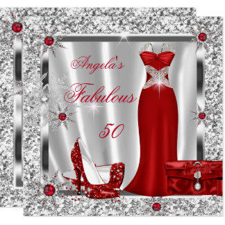 Fabulous 50 Party Red Silver Snowflakes Card