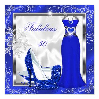 Fabulous 50 Party Royal Blue Silver Dress Heels S9 Card