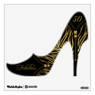 Fabulous 50 Party Shoe Zebra Gold Zipper Wall Sticker