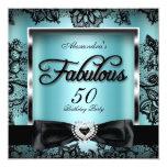 Fabulous 50 Party Teal Blue Damask Black Lace Invitation