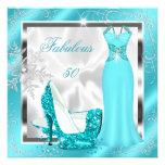 Fabulous 50 Party Teal Blue Silver Dress Heels S10 Invitations