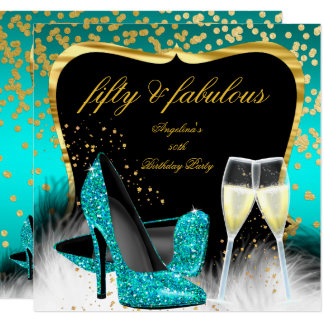 Fabulous 50 Party Teal Gold Champagne Glitter Heel Card