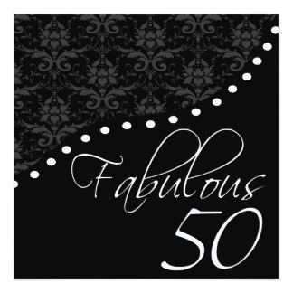 Fabulous 50 Personalized Black Birthday Party 5.25x5.25 Square Paper Invitation Card