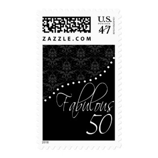 Fabulous 50 Personalized Black Birthday Party Postage
