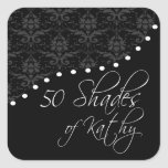 Fabulous 50 Personalized Black Birthday Party Square Stickers