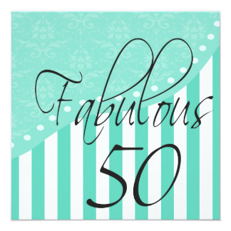 """Fabulous 50 Personalized Turquoise Birthday Party 5.25"""" Square Invitation Card"""