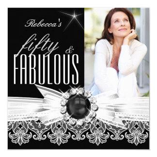 "Fabulous 50 Photo Black Pearl White Lace Birthday 5.25"" Square Invitation Card"