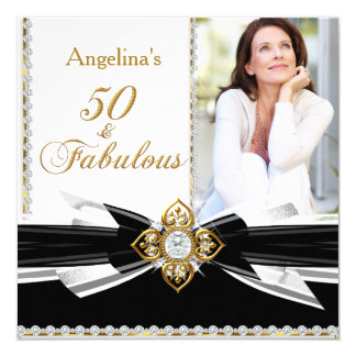 Fabulous 50 Photo Black White Gold Birthday Party 5.25x5.25 Square Paper Invitation Card