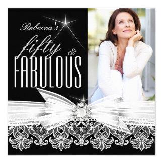 Fabulous 50 Photo Black White Lace 50th Birthday 5.25x5.25 Square Paper Invitation Card