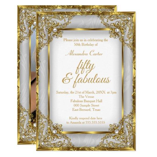 Fabulous 50 Photo Gold Gray Silver Pearl Birthday Invitation