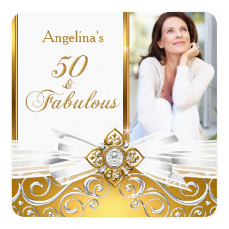 Fabulous 50 Photo White Gold Damask Birthday Party Card