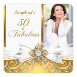Fabulous 50 Photo White Gold Damask Birthday Party 5.25x5.25 Square Paper Invitation Card