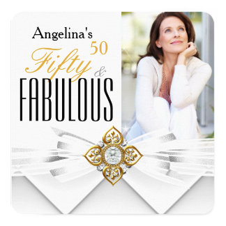 Fabulous 50 Photo White Gold Modern Birthday 5.25x5.25 Square Paper Invitation Card