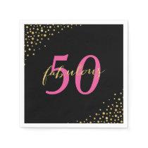 Fabulous 50 Pink & Gold Modern Birthday Napkin