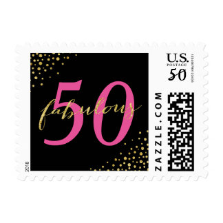 Fabulous 50 Pink & Gold Modern Birthday Postage
