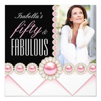 Fabulous 50 Pink Pearl Photo Elegant Birthday Card
