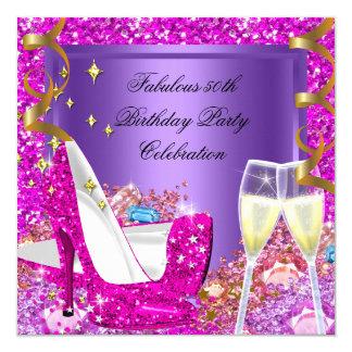 Fabulous 50 Pink Purple Glitter Heels Birthday Card