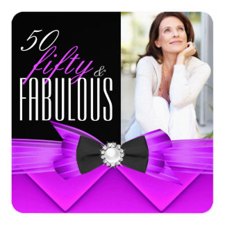 Fabulous 50 Pink Purple Photo Birthday Party Card