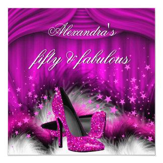Fabulous 50 Plum Pink High Heels Feathers Birthday Card