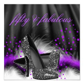 Fabulous 50 Purple Black High Heels Birthday Party Card