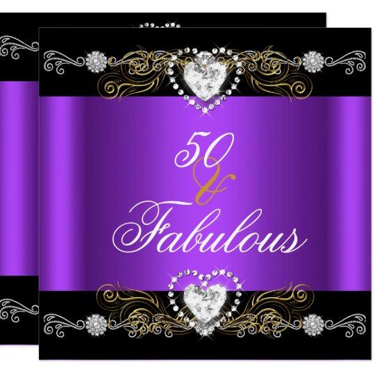 Fabulous 50 Purple Black Silver Gold 50th Birthday Invitation