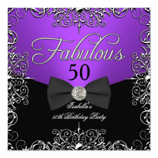 Fabulous 50 Purple Elegant Birthday Party Card