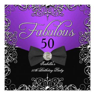 Fabulous 50 Purple Elegant Birthday Party 5.25x5.25 Square Paper Invitation Card