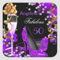 Fabulous 50 Purple Heels Gold Bubbles Birthday Square Sticker