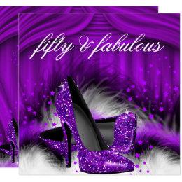 Fabulous 50 Purple High Heels 50th Birthday Party Card