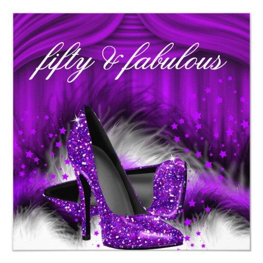 Fabulous 50 Purple High Heels 50th Birthday Party Card ...