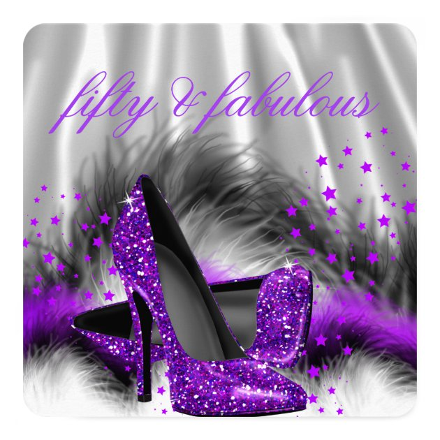 Fabulous 50 Purple Silver High Heel Birthday Party Card ...