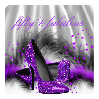 Fabulous 50 Purple Silver High Heel Birthday Party 5.25x5.25 Square Paper Invitation Card