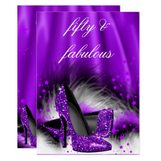 Fabulous 50 Purple Stars High Heels Birthday Party Card