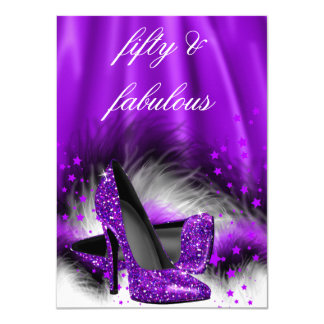 Fabulous 50 Purple Stars High Heels Birthday Party 4.5x6.25 Paper Invitation Card