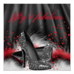 Fabulous 50 Red Black High Heels Birthday Party Invitation