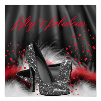 Fabulous 50 Red Black High Heels Birthday Party 5.25x5.25 Square Paper Invitation Card