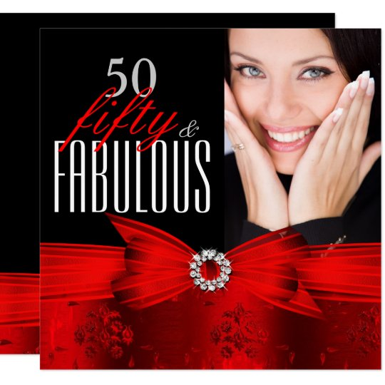 fabulous 50 red black photo birthday party invitation zazzle com