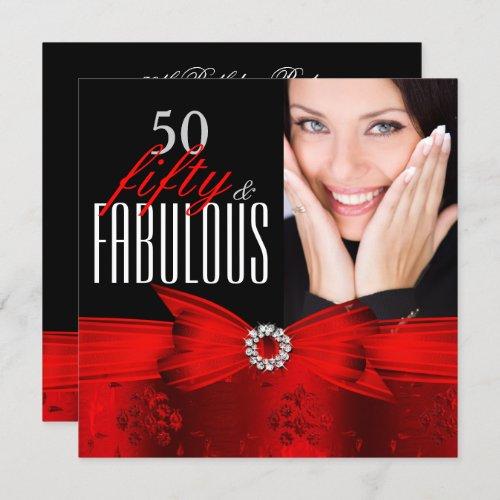 Fabulous 50 Red Black Photo Birthday Party Invitation