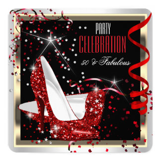 Fabulous 50 Red Black White 50th Birthday Party 2 5.25x5.25 Square Paper Invitation Card